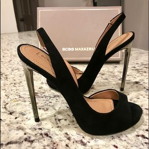 BCBG Sling back open toed high heels